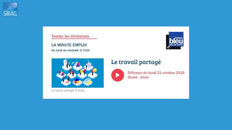 Chronique LA MINUTE EMPLOI - France Bleu Pays de Savoie | SIRAC ETTP